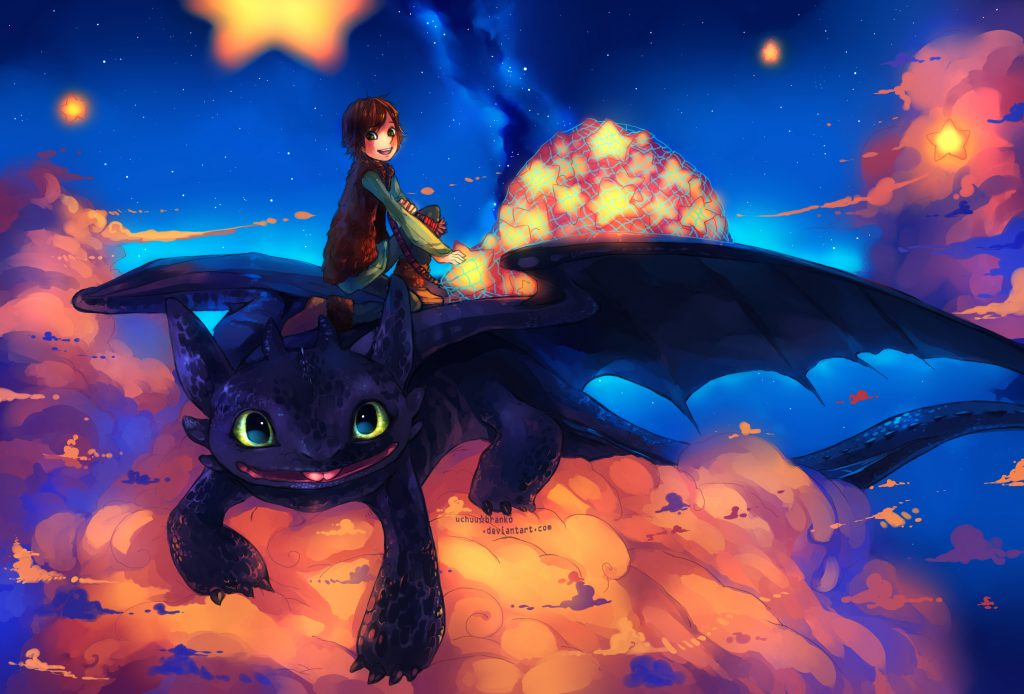 Young Hiccup and Toothless, on top of a cloud, apparently collecting stars from the sky.