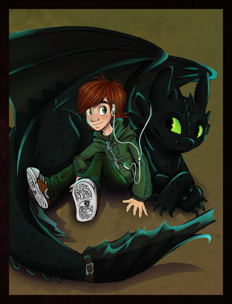 Young Hiccup and Toothless, resting and sharing earbuds from a music player.