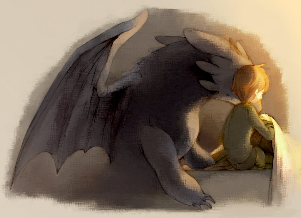 Toothless comforting toddler-Hiccup, who appears to have woken from a bad dream.