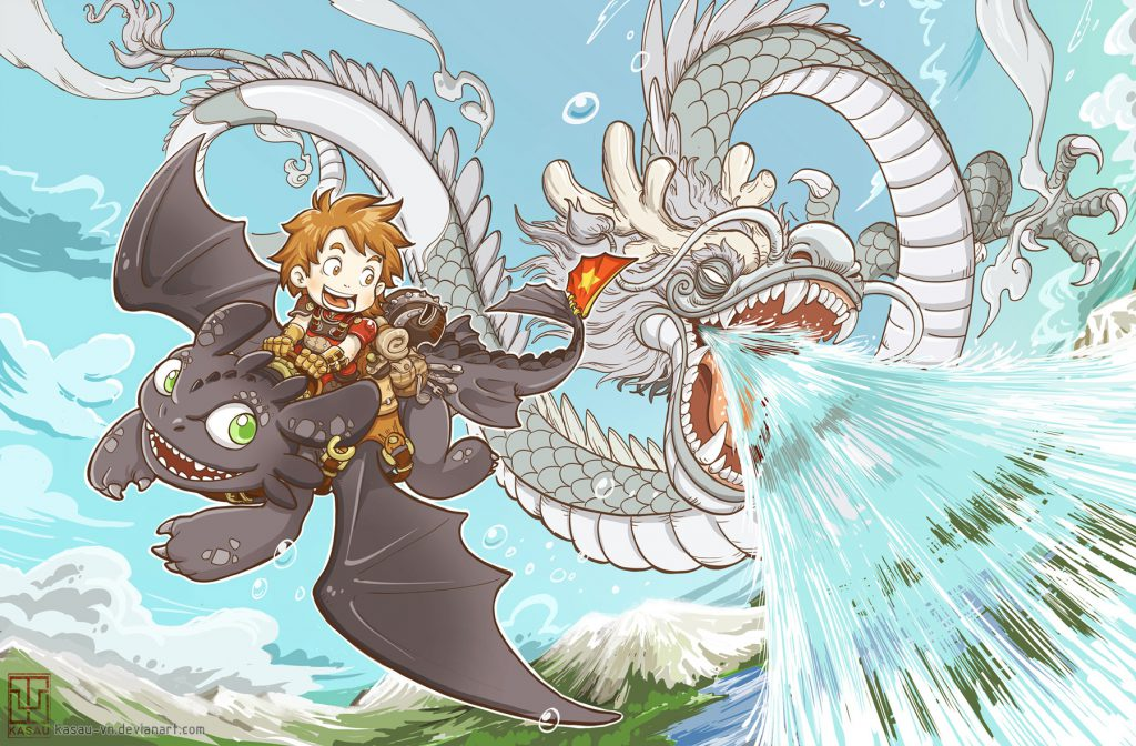 Hiccup riding Toothless, both are cheerful and looking at an Asian dragon flying beside them - the dragon appears to be spitting water and may have tried to spray Hiccup and Toothless with it.