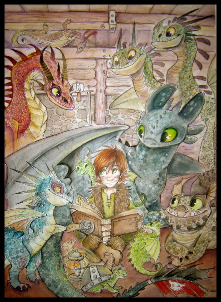 Hiccup inside a room filled with dragons, they appear to be listening to him reading a story.