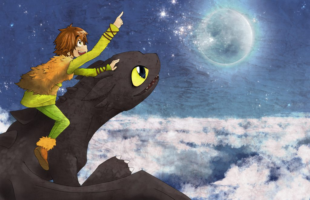 Young Hiccup and Toothless flying above the clouds, apparently towards the stars, full moon in background.