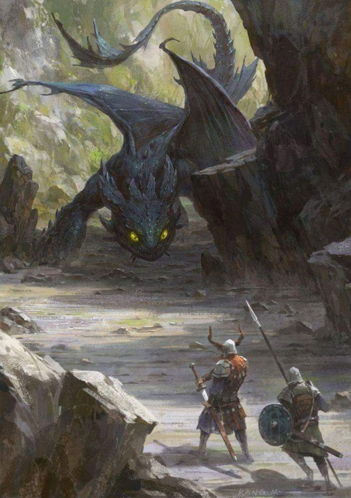 Quite a realistic painting of a very large-sized Toothless, and two armed Vikings running towards him, all showing readiness for battle.