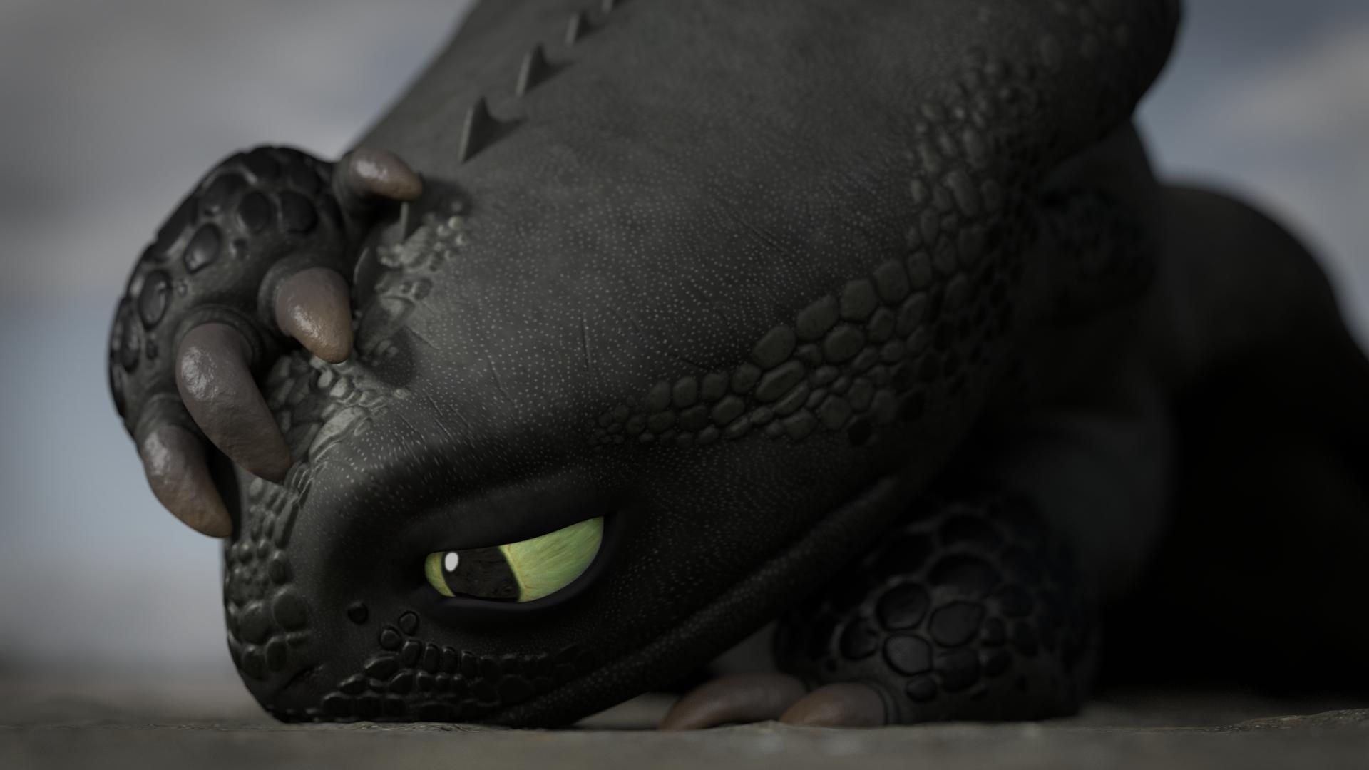 3D model of Toothless, looking overwhelmed and sad