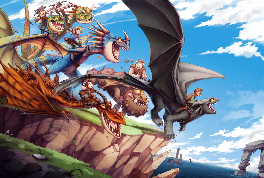 Dragon Riders and their dragons taking flight off a cliff