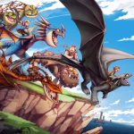 Berk's Dragon Riders and their dragons, excitedly taking to flight off a cliff.