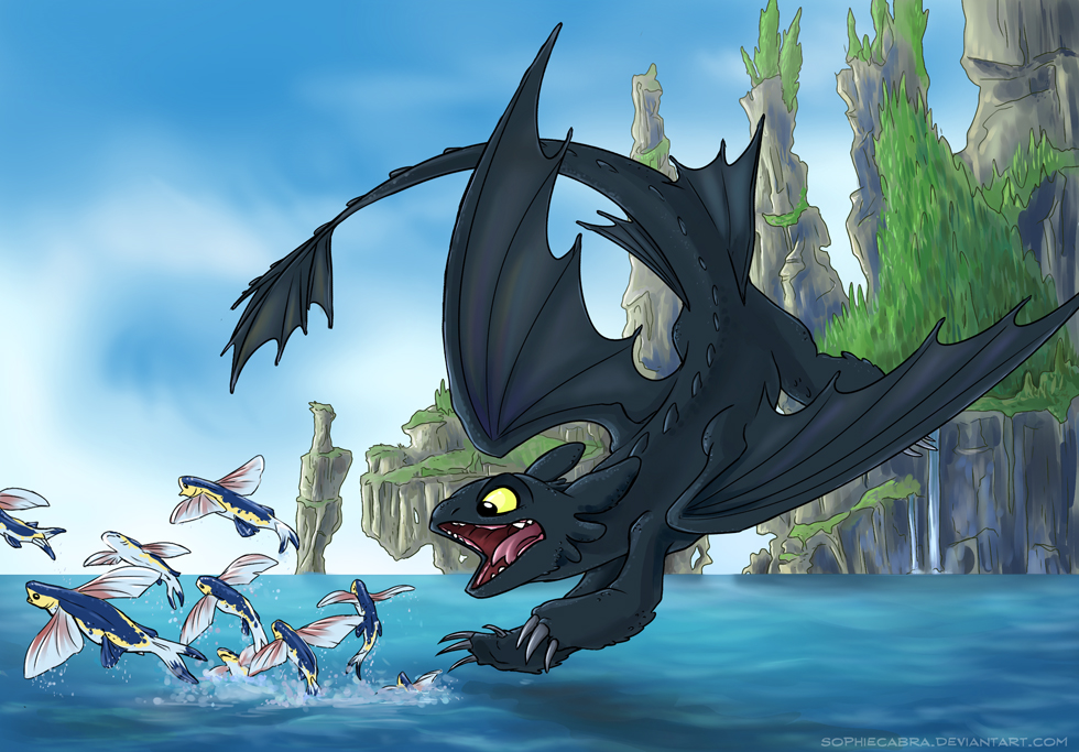 Toothless diving into the sea, chasing some Flying Fish