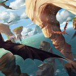 Beautiful HTTYD fanart - view of sea, sea stacks, blue sky and dragons flying