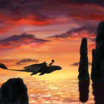Forbidden Friendship - by limey404. Young Hiccup flying on Toothless, beautiful sunset background.