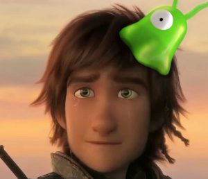 Futurama's Fry and HTTYD's Hiccup with attached Brainslugs