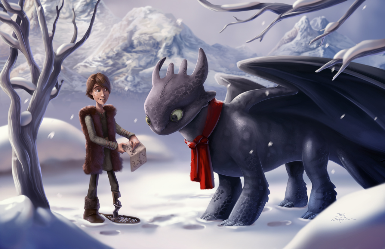 Hiccup holding treasure map and showing Toothless