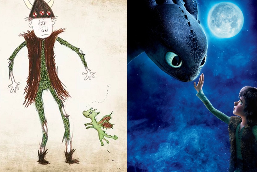 Montage of Hiccup and Toothless from the original books and from the first movie