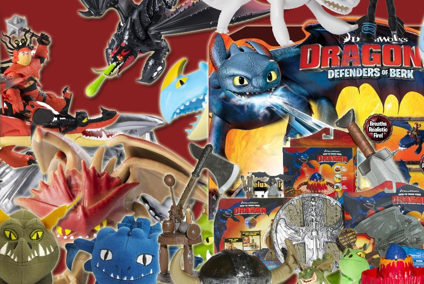 Montage of Dreamworks Dragons merchandise