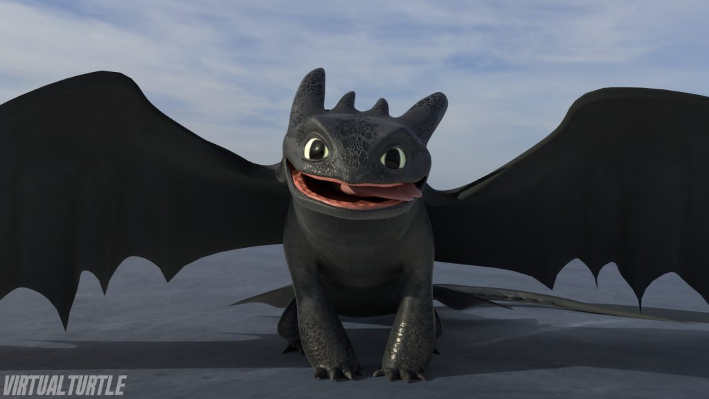 3D model render of Toothless smiling happily at viewer.