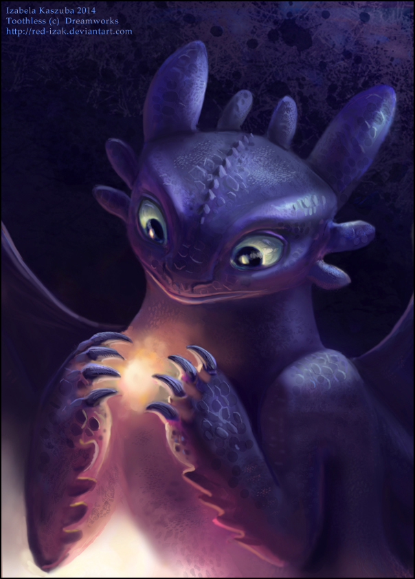 Toothless looking into a flame glowing between his front claws
