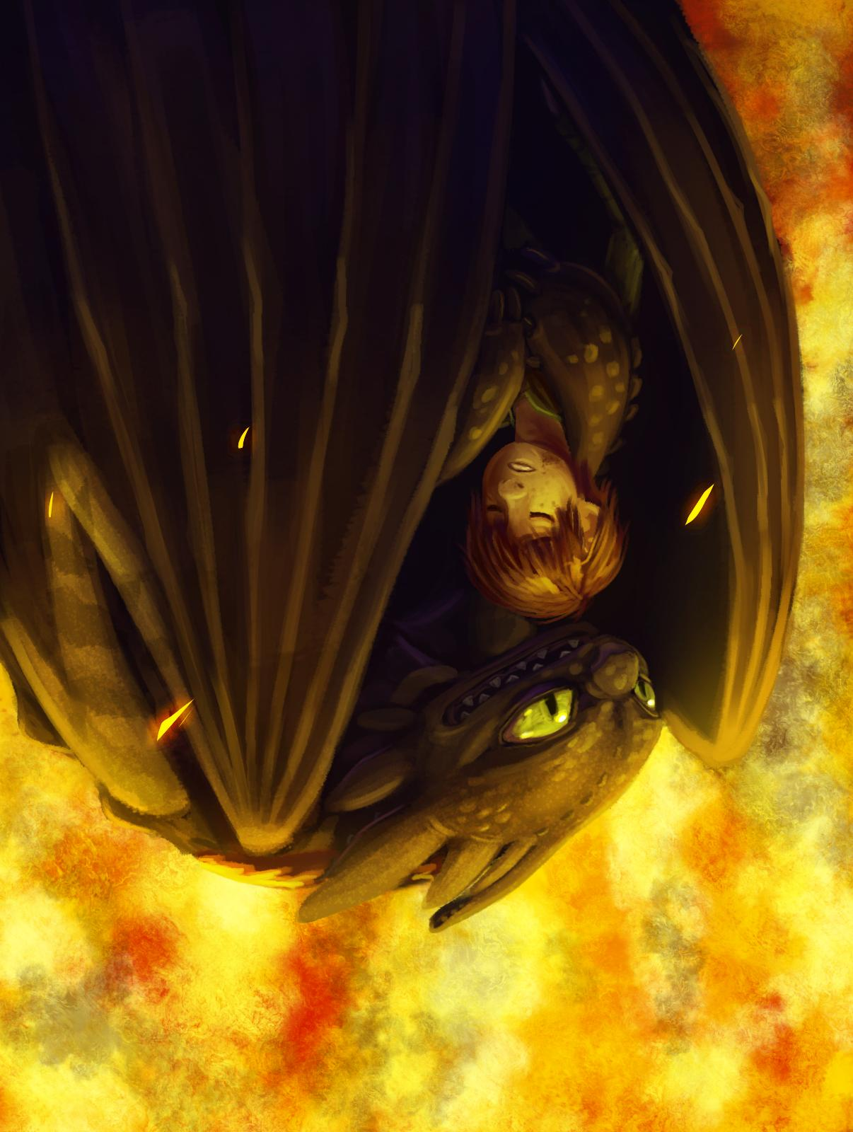 Toothless protecting Hiccup