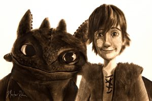 Hiccup and Toothless portrait