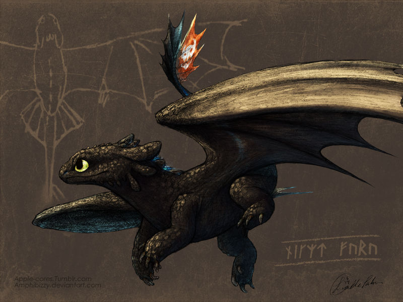Dragon Journal type drawing of Toothless