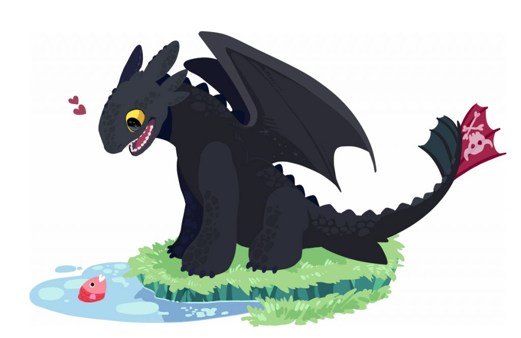 Children's book style drawing of Toothless cheerfully looking at a fish in the water.