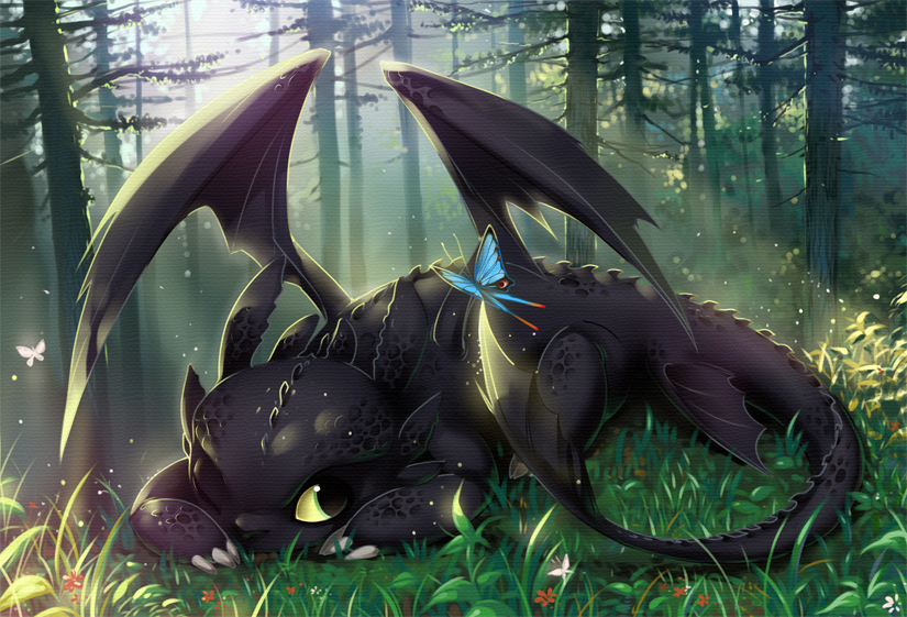 Toothless resting on the forest ground, watching a butterfly