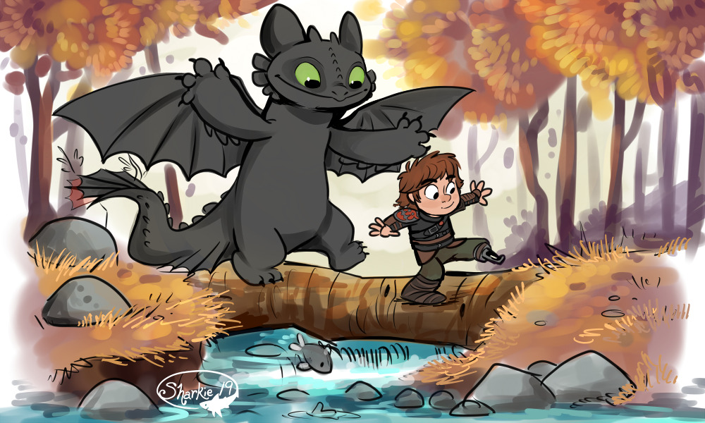 Hiccup and Toothless walking on a log across a river.