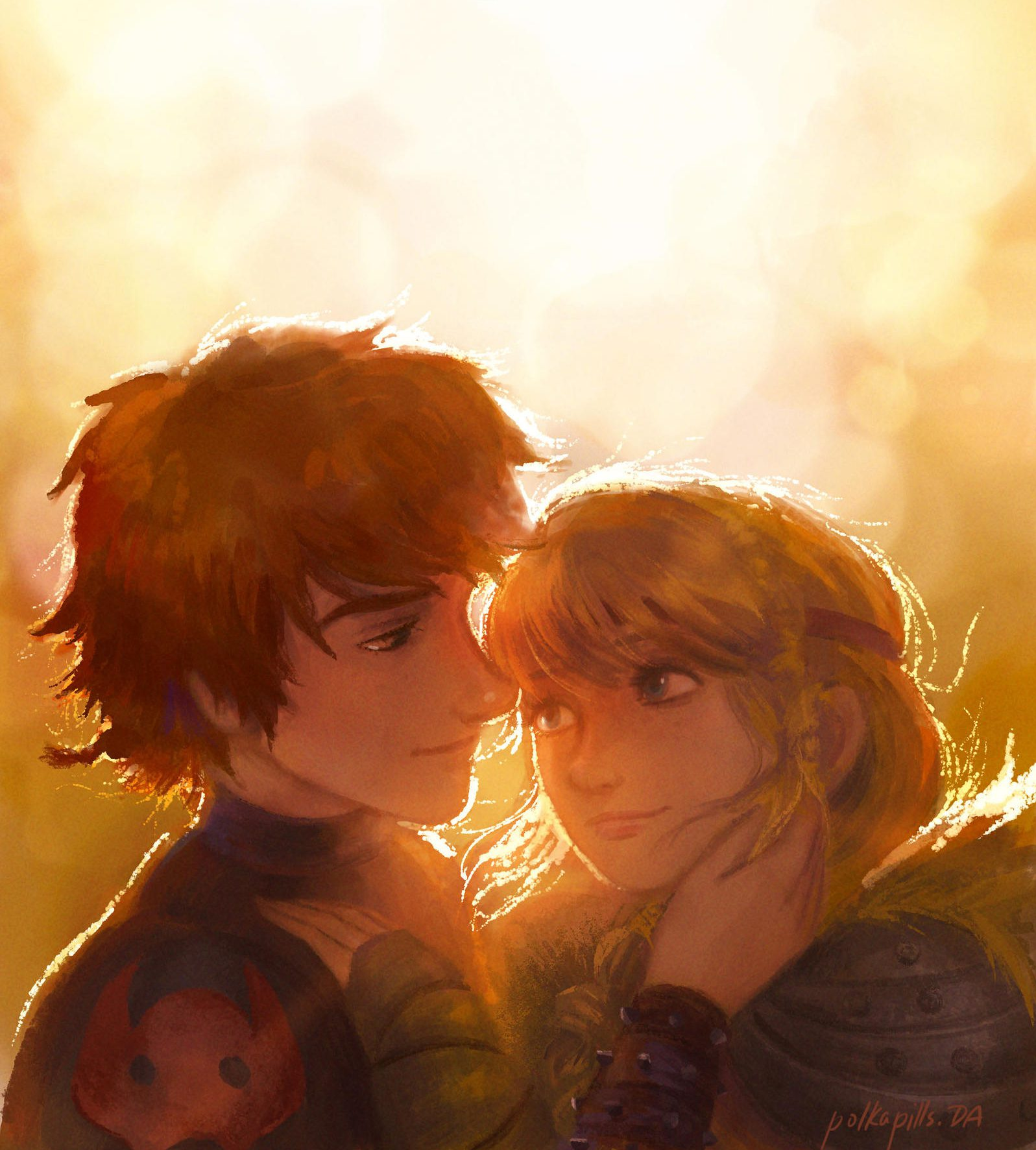 Hiccup and Astrid being affectionate to one another with a bright background and dragon flying in the sky.