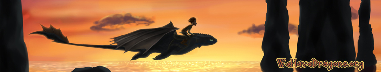 WeHaveDragons.org website header - Hiccup flying on Toothless with sunset in background.